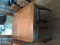 Oak Dining Room Table, 6 chairs and china cabinet