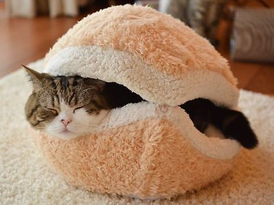 Windproof Cute Shell Hamburger Shape Plush Dog Cat Bed Nest Toy Pet Kitty House