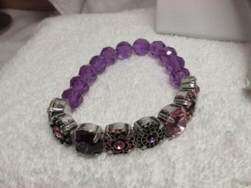 Avon 2011 Mix & Stack Purple Beaded Stretch Bracelet New Old