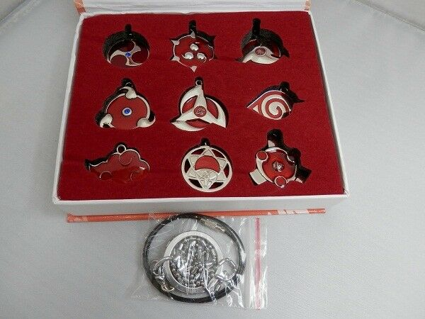 9pcs Naruto Shippuden Konoha Necklace Pendant Keychain Metal New in Box