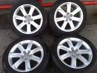 "GENUINE AUDI A7 18"" ALLOYS & 255/45/18 PIRELLI TYRES 5X112 VW T4 CADDY"