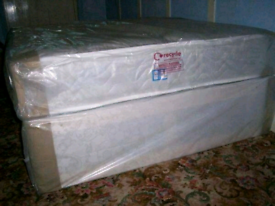 Double divan bed with good quality mattress packaged can deliver