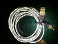 USB Printer cable with silver braid and gold contacts