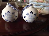 2 PRETTY CHRISTMAS CHERUB PORCELAIN BAUBLES..REDUCED
