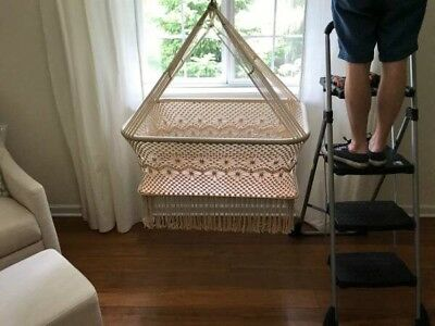 Baby Cradle Bassinet Hanging Crib 100% Handmade Round Natural Cotton Portable