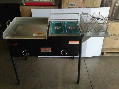 Taco Cart 3 In 1 Deep Fryer W Griddle 18 X 16 Stainless Steel 2 Third Pans