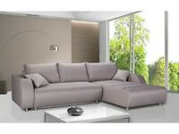 SALE! CORNER SOFA BED. STORAGE, GRAY FABRIC , BIG, COSY, UNIVERSAL, HIGH QUALITY- EUROPEAN MADE!