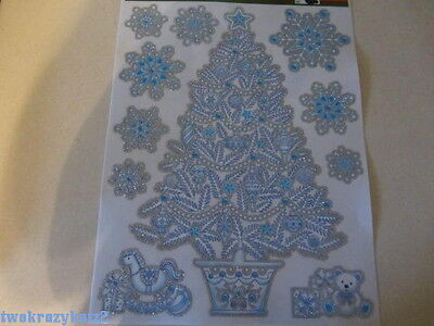 CHRISTMAS TREE SNOWFLAKES GLITTER WINDOW CLINGS INDOOR DECORATIONS 11 PCS