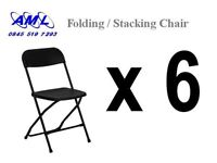 6 x black folding / stacking chairs - temporary seating, office etc. Marquee companies