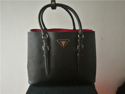 New Prada Black and Red Saffiano Leather Tote Bag