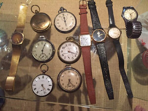 Lot of watches, pocket watches, one compass and one
