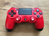 PS4 OFFICIAL RED CONTROLLER PAD WITH RED ALUMINIUM ANALOG STICKS