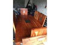 6 seater dining table and chairs, coffee table and matching mirror