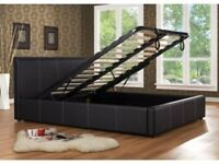 BRAND NEW OTTOMAN LEATHER STORAGE BED IN BLACK/BROWN COLOR IN CHEAPEST EVER PRICE