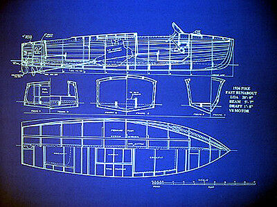 "Motor Boat Blueprint Plan 1936 Vintage Speedboat 20"" x 24"" (008)"