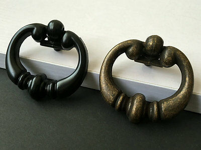Drop Ring Cabinet Door Pull Dresser Knob Drawer Knob Rustic Black Antique Bronze