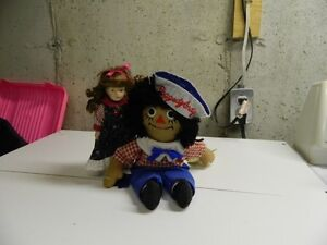 Raggedy Andy Doll & Porcelain Doll (July Ruby)