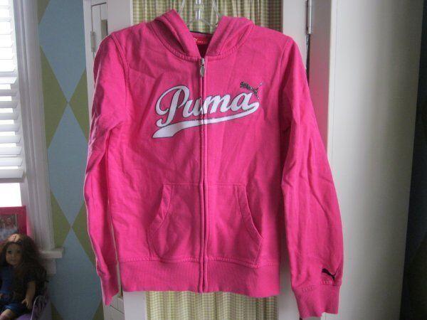 PUMA girls hot pink zip up hoodie Sz Large