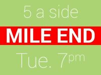 Friendly 5 a side football game at Mile End needs players. Book & Play.