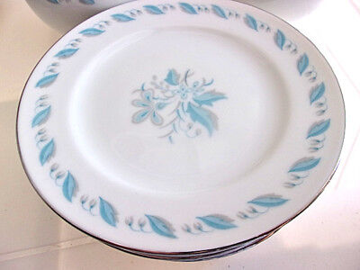 SKY FLOWER Abalone China Japan 6 Bread / Dessert Plates Light Blue Floral (Abalone China)