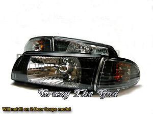 Lancer EVO Evolution 1 2 3 1992-1995 92 Crystal Glass Headlight Black Mitsubishi
