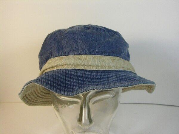 Mütze Anglermütze Strandhut Gr. 58 blau Jeans mit Streifen beige echt Vintage