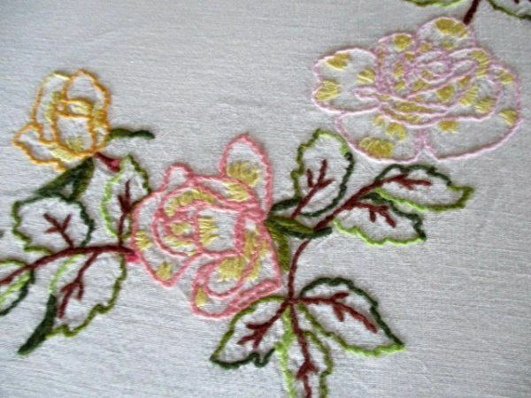 VINTAGE TABLECLOTH-HAND EMBROIDERED-ROSES IN DESIGN-UNUSED-Linen