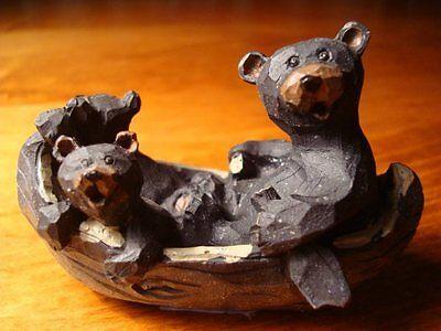 Rustic Black Bear Papa & Cubs Family In Log Cabin Canoe Lodge Figurine Decor NEW