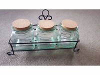 3 Glass Canisters with Holder