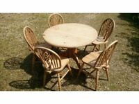 Pine table and 5 beech chairs