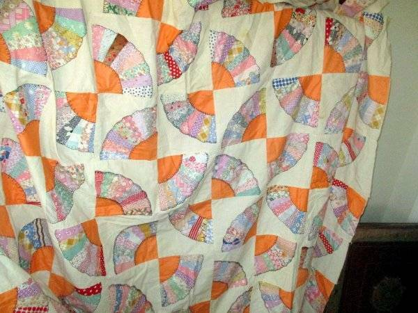 VINTAGE Boho Hippie FAN DESIGN HAND STITCHED QUILT TOP FEED SACKS USED