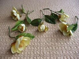 6 Artificial Pale Yellow Roses for Flower Arrangement or Vases / Mini Vases Crafts Flower Arranging