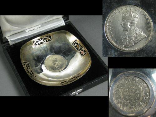 1912 British India George Ⅹ Silver Plate / Silver 925 One Rupee / W 9.3× H 2[cm]