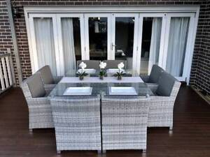 WICKER DINING SETTING,8 SEATER, B/NEW,EUROPEAN STYLED