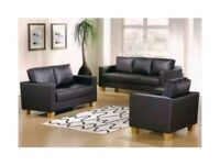 Brand New --- Classic Sofa Set -- Faux Leather 3 seater and 2 seater sofa set in Black and Brown