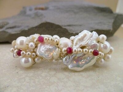 Hairclip barrette in your choice of  pearls & gems - use as tiara or fascinator