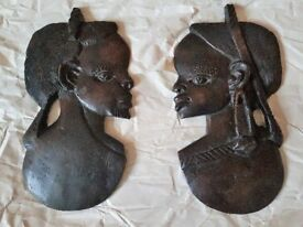 PAIR OF DECORATIVE WOODEN AFRICAN HEADS
