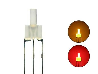 S453 - 20 Stück DUO LEDs 2mm Bi-Color gelb rot diffus Lichtwechsel Loks DIGITAL (Diffuses Licht)