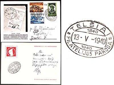 Lithuania; Sc.314-316, Mi.413-416, TELSIAI > PALANGA, RARE TELSIAI PHILATELIC EXHIB