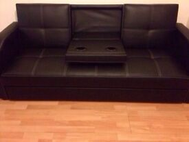 3 seater black sofa bed