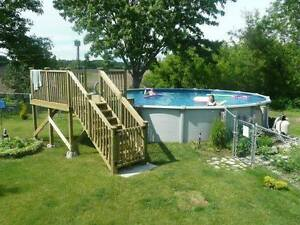 27' round above ground pool metal sides & accessories & deck