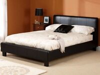**7-DAY MONEY BACK GUARANTEE!** Kingsize Leather Bed with Mattress Options - SAME DAY DELIVERY!
