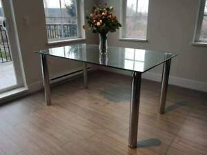 Like New Tempered Glass Dining Table - $199 (SOUTH SURREY)