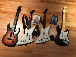Rock Band game and guitars (xbox and PS2)