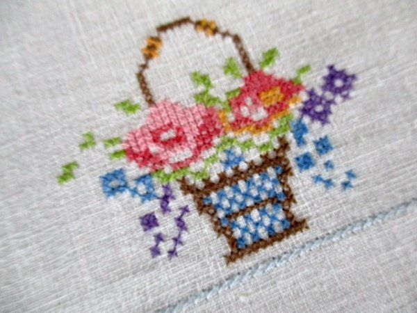 VINTAGE TABLECLOTH HAND EMBROIDERED WITH BASKETS OF FLOWERS
