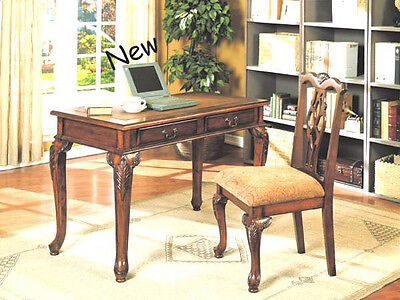 30''H ANTIQUE STYLE Designed Writing DESK&CHAIR Set-in Brown Cherry Finish -ASDI