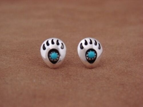 Navajo Indian Jewelry Sterling Silver Turquoise Bear Paw Post Earrings