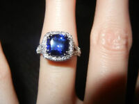 Cushion Sapphire Diamond Halo Split Shank Ring