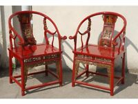 A Pair of Antique Chinese Horseshoe Hall Chairs, Perfectly Restored, Can Deliver