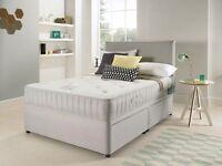 Available Suede Divan Bed + Open Sprung Memory Foam Mattress & Headboard